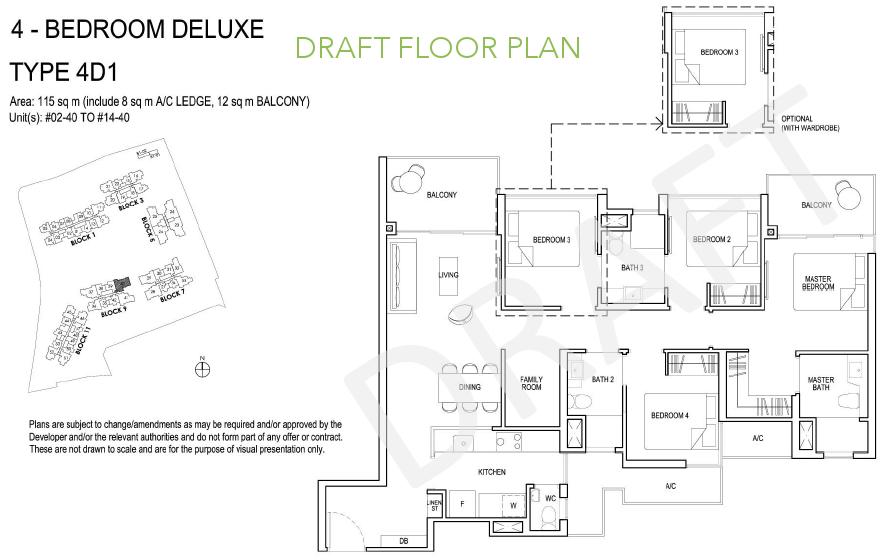 Grandeur Park Floor Plan 4BR Deluxe Type 4D1