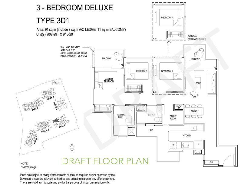 Grandeur Park Residence Floor Plan 3BR Deluxe Type 3D1