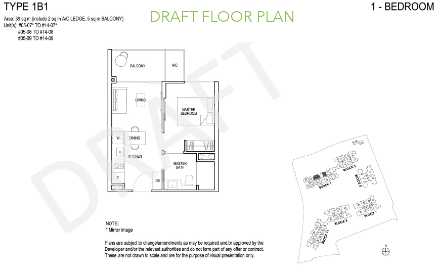 Grandeur Park Residences Floor Plan 1BR Type 1B1